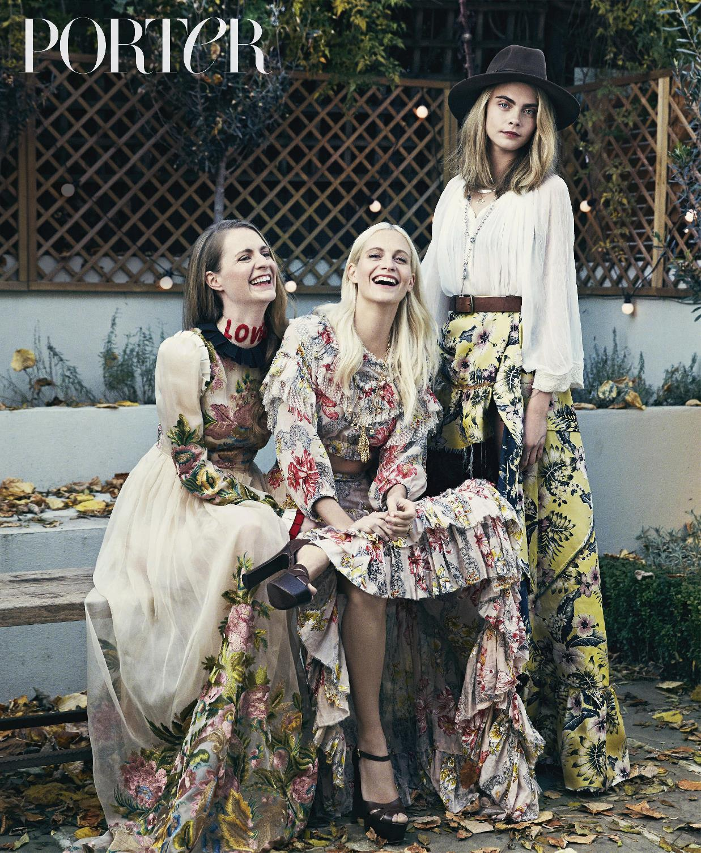 (L-R) Chloe wears dress by Gucci, Poppy wears top and skirt by Philosophy di Lorenzo Serafini, necklaces by Aurelie Bid...