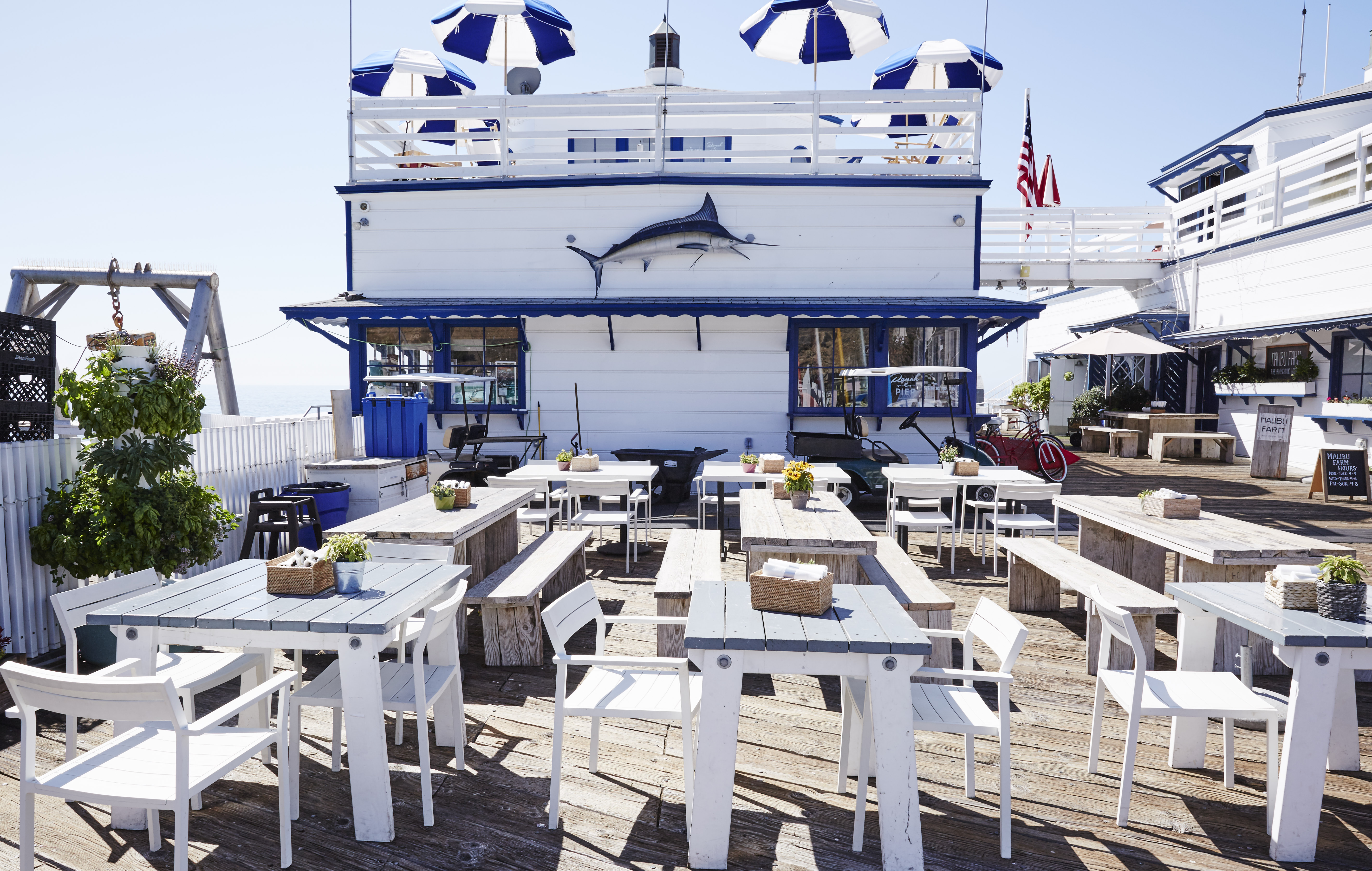 malibu pier family itinerary helene henderson malibu farm restaurant cafe surfrider beach one gun ranch kids love captain and the gypsy kid CATGK time for lunch tables and chairs